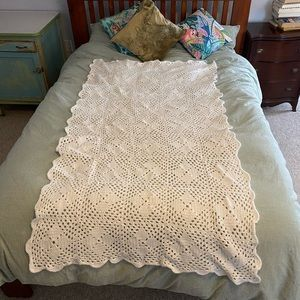 Vintage Handmade Crochet Afghan Blanket, White